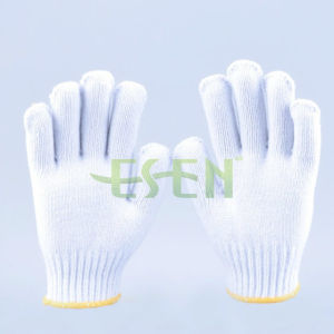 7 Gauge 700g Bleached White Cotton Knitted Glove Work Gloves pictures & photos