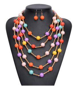 Fashion Colorful Artificial Resin Beads Statement Choker Necklace Jewelry pictures & photos