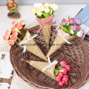 Mini Rose Bouquet Artificial Flower Buds with Wrapping Craft Paper