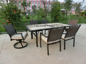 Outdoor Furniture Dining Ceramic Table with Swivel Chair pictures & photos