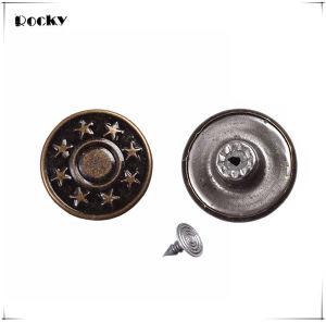17mm Star Pattern Metal Buttons Bronze Jeans Button