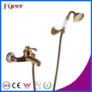 Fyeer Antique Brass Wall Mounted Bath Shower Mixer Faucet pictures & photos