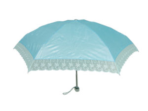 4 Fold Umbrella with Pearl Cover and Lace Edge (OCT-YL001) pictures & photos