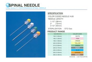Disposable Extradural Anaesthesia Spinal Needle for Quincke Pencil Point pictures & photos