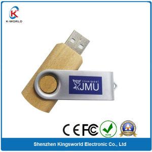 Free Logo Metal Wood Swivel USB Flash Drive (KW-0350)