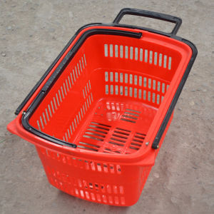 Shopping Basket with Wheels, Plastic Basket, Supermarket Basket pictures & photos