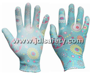 Printed Polyester Work Glove with PU Palm Coated (PN8014-1) pictures & photos
