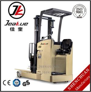 German Standard 1800kg Fork Reach Standing Driving Electric Forklift pictures & photos
