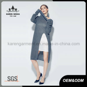 Women Turtleneck High Side Slit Long Sweater pictures & photos