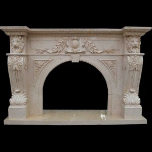Lion Head Carving Fireplace pictures & photos