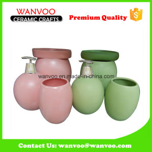 Chinese Recycle Ceramic Lotion Dispenser Bath Set with Durable Tumbler pictures & photos