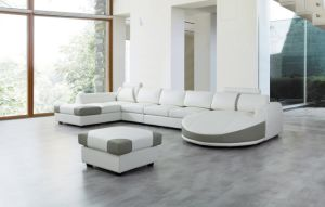 Foshan Cheap U Shape Grey Leather Sofa with Footrest (LS-021) pictures & photos