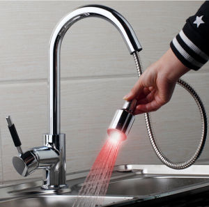 Pull-Down Spray Self-Power 3 Color LED Kitchen Sink Faucet pictures & photos