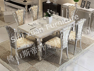 Marble Top Dining Table Rectangle Dining Table with Stainless Steel Frame Home Furniture pictures & photos