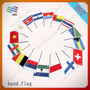 Guangzhou Factory High Quality Plastic Hand Held Stick Flag (HYHF-AF053) pictures & photos
