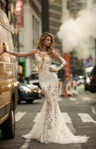 New Arrival 2017 Mermaid Full Lace Sleeve Wedding Dress pictures & photos