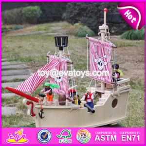 New Design Funny Children Wooden Pirate Ship Toy for Sale W03b061 pictures & photos