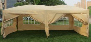 10 Ft. X 20 Ft. Folding Metal Gazebo with Full Sidewalls