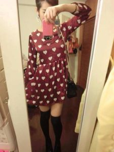 Long Sleeve Wave Point Pure Cotton Autumn&Winter Latest Fashion Shift Dress