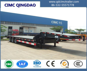Cimc 3 Fuwa Axles 80 Tons Flat Lowbed Semi Truck Trailer pictures & photos
