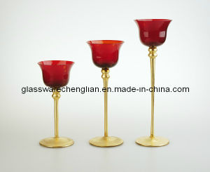 Red&Gold Colr of Glass Candle Holder (C04A-19-021) pictures & photos