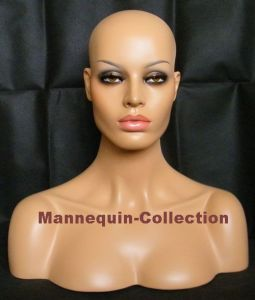 Realistic Mannequin Head & Bust with Glass Eyes for Lace Wig Display (YZ-102)