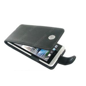 Black Leather Flip-Style Case for HTC pictures & photos