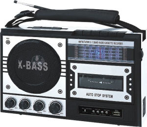 Professional Silver Multi-Bands Portable Radio Cassette Recorder Player With 3 Band & Handle Rope & USB Slot (AY-3268US-A)