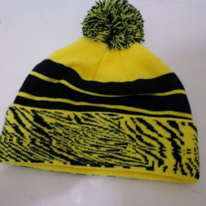 Dobby Print Custom Fashion POM Beanie Hat