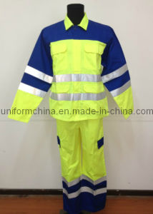 2013 Latest Style Workwear with Reflective Tape, Fluorescein and Navy Popular T/C Shirt & Overall, Work Clothing Suit