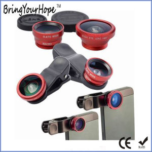 Universal Clip 3in1 Phone Camera Fisheye Wide Macro Lens (XH-LF-001) pictures & photos