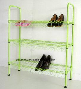 Cheap Powder Coating 3 Tier DIY Metal Storage Shoe Rack pictures & photos