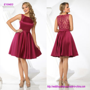 Bateau Neckline Knee-Length Evening Dress with Sheer Lace Shoulder Detail and Back pictures & photos