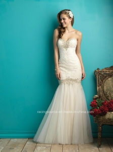 2016 New Fashion Embroidary Bead Organza Mermaid Wedding Bridal Dress pictures & photos