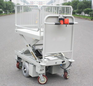 Powered Scissor Lift Cart with One Cylinder & Wire Fence (HG-1090B) pictures & photos