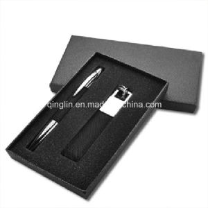 Genuine Leather Black Keychain and Pen Gift Set (QL-TZ-0013) pictures & photos