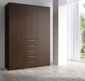 Dark Brown Wooden Wardrobe with 3 Door Modern Furniture (HF-EY0813) pictures & photos