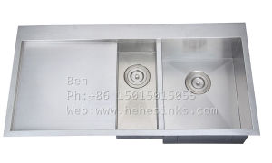 Drop in Handmade Sink, Stainless Steel Top Mount Double Bowl Handmade Kitchen Sink with Drain Board pictures & photos