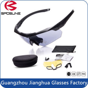Factory Wholesale 3 Interchangeable Lens OEM Bullet-Proof Airsoft Army Military Sunglasses pictures & photos