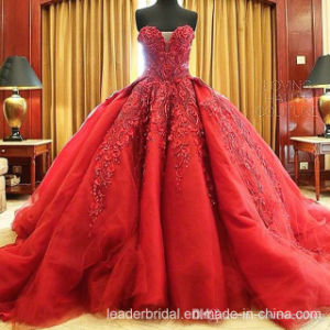 Vestidos De Noiva Red Bridal Ball Gowns Strapless Organza Wedding Dresses Z8023 pictures & photos