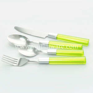 SGS, LFGB, Promotional Coloured Plastic Handle Stainless Steel Cutlery Set pictures & photos