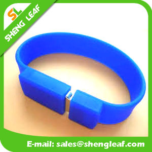 Promotional Gift PVC Rubber Customized Bracelet USB Flash Drive (SLF-RU018) pictures & photos