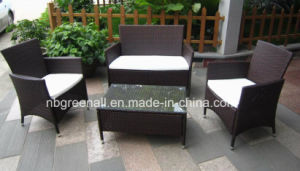 Two Layer Coffee Table Wicker Rattan Simple Sofa Set (GN-9048S) pictures & photos