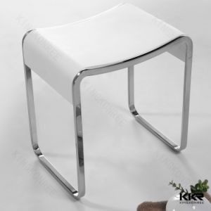 Kingkonree White Solid Surface Artificial Stone Shower Stool for Bathroom pictures & photos