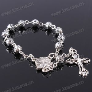 Honest Suppliers Catholic Handmade Imitation Pearl Cross Rosary Bracelet