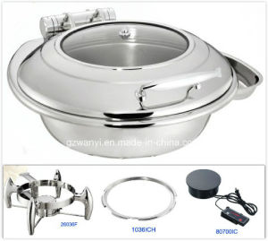 Round Induction Chafing Dish with Glass Window Lid (26036T) pictures & photos