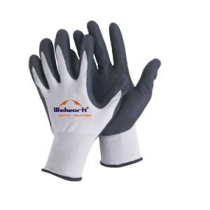 13 Guage String Knitted Base Nylon Knitted Nitrile Foam Coated Safety Gloves N11509