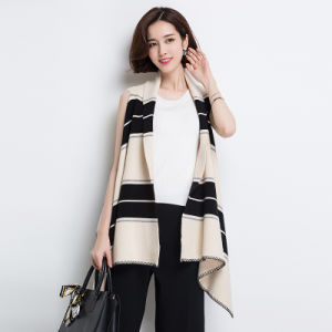 Women Fashion Striped Viscose Nylon Knitted Shawl Vest (YKY4525) pictures & photos