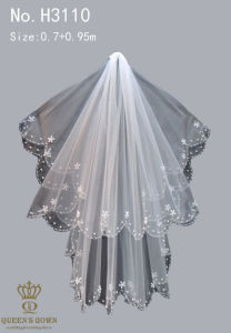 Exquisite Hand-Beaded Lace Bridal Veil Short Paragraph, Factory Direct