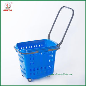 Wheeled Plastic Supermarket Shopping Basket (JT-G06) pictures & photos